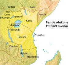 Hartë me vende afrikane ku flitet suahili