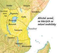 Mapa afrických zemí, kde se mluví svahilsky