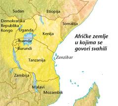 Karta afričkih zemalja u kojima se govori svahili