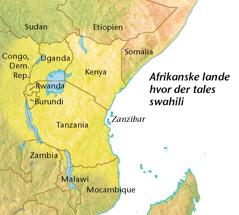 Et kort over afrikanske lande hvor der tales swahili