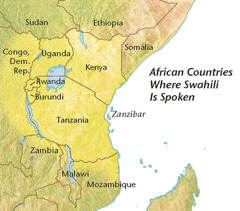A map of African countries where Swahili is spoken