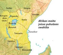 Kartta Afrikan maista, joissa puhutaan swahilia