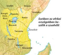 Egy térkép azokról az afrikai országokról, ahol beszélik a szuahélit