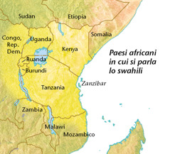 Cartina dei paesi africani in cui si parla lo swahili