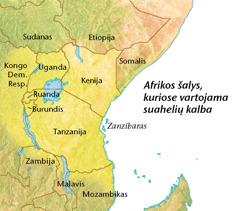 Žemėlapyje sužymėtos šalys, kuriose kalbama suahelių kalba