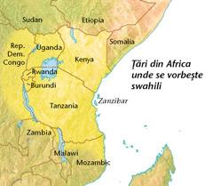 O hartă cu ţări din Africa unde se vorbeşte swahili
