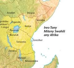 Sarintany misy an'ireo tany miteny swahili any Afrika