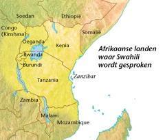 Een kaart met Afrikaanse landen waar Swahili wordt gesproken