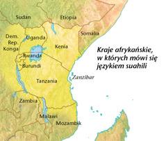 Mapa ukazująca kraje afrykańskie, wktórych mówi się językiem suahili