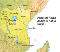 Mapa de los países de África donde se habla suajili