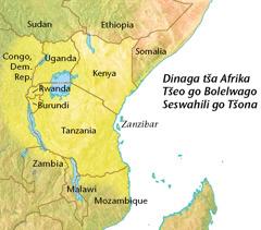 Mmapa wa dinaga tša Afrika tšeo go bolelwago Seswahili go tšona