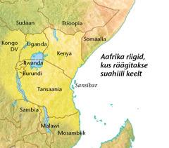 Kaart Aafrika maadest, kus räägitakse suahiili keelt