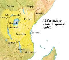 Zemljevid afriških držav, v katerih govorijo svahili