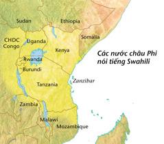 Bản đồ các nước châu Phi nơi người dân nói tiếng Swahili