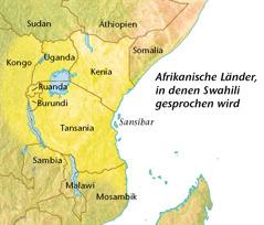 Eine Karte mit den afrikanischen Ländern, in denen Swahili gesprochen wird
