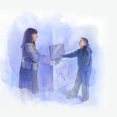 A son begging his mother for a computer