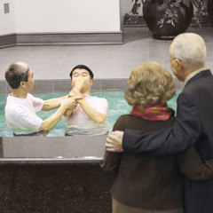 Two of Jehovah's Witnesses watching their student get baptized