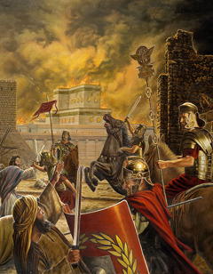 The Roman army destroying ancient Jerusalem