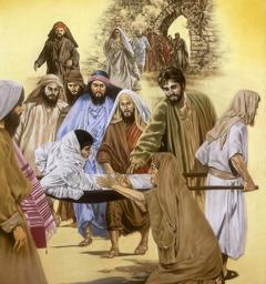 Jesus resurrecting a man