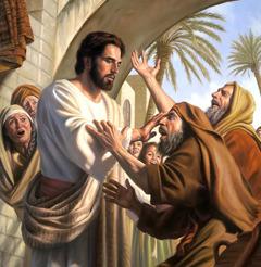 Jesus helbreder den blinde tiggeren