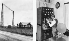 1. A radio station in Edmonton, Alberta; 2. A man working on a transmitter