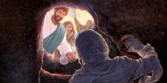 Lazarus is resurrected from death and called out from the burial tomb by Jesus.