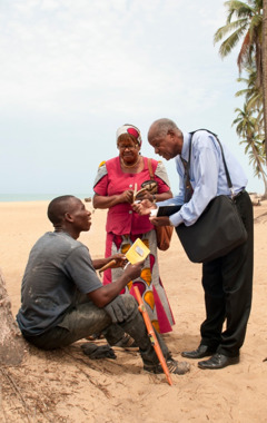 Albert-Fayette and Aurele demonstrating a Bible study in Benin