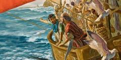 Aposteln Paulus och Timoteus i en båt.