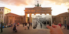 Brandenburg Gate in Berlin and a group of soldiers