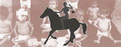 Den svarte hesten og mange barn som sulter