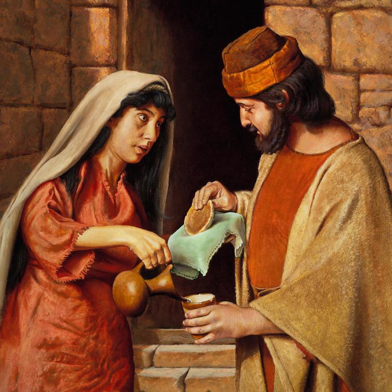 La viuda de Sarepta dándole de comer al profeta Elías