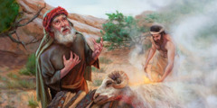 Abraham and Isaac sacrificing a ram provided by Jehovah