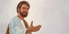 Jesus extending his hand to invite you to the Memorial