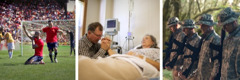 Verschiedene Gebetssituationen: Fußballspieler nach einem Tor, Mann bei seiner Frau am Krankenbett, Soldaten im Krieg