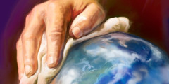 Jesus' hand with a cloth, as if wiping the earth clean