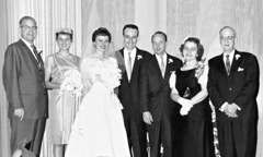Robert and Lorraine Wallen with family and friends on their wedding day