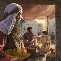 Mary watching fondly as Joseph teaches carpentry to their teenage son Jesus