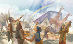 Noah, his family, and the animals outside the ark after the flood