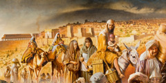 Kristnir menn á fyrstu öld yfirgefa Jerúsalem.