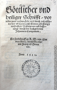 The 1532 book Restitution by Johannes Campanus