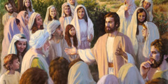Jesus teaching a crowd to love Jehovah God