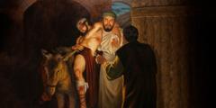 선한 사마리아 사람이 부상당한 사람을 여관으로 데려오는 장면