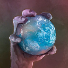 A hand holding planet Earth