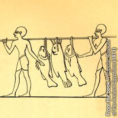 Fischer aus dem alten Ägypten tragen Fische an einem langen Stock