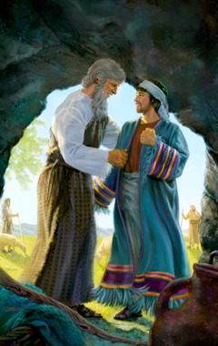 Jacob puts the special robe on Joseph