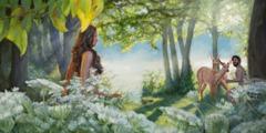 에덴동산에 있는 아담과 하와