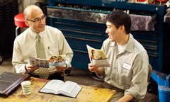 One of Jehovah's Witnesses conducting a Bible study using the Good News From God! brochure