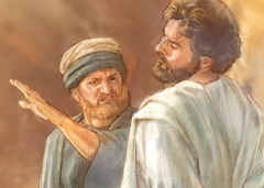 In ancient times, a man slaps another man's face