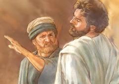 رجل في الازمنة القديمة يصفع آخر على وجهه