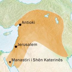 Hartë e zonës përreth Antiokisë dhe Jerusalemit ku flitej gjuha siriake